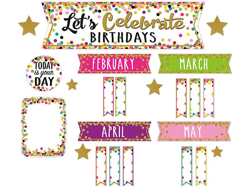 Confetti Birthday Bulletin Board Set At Lakeshore Learning